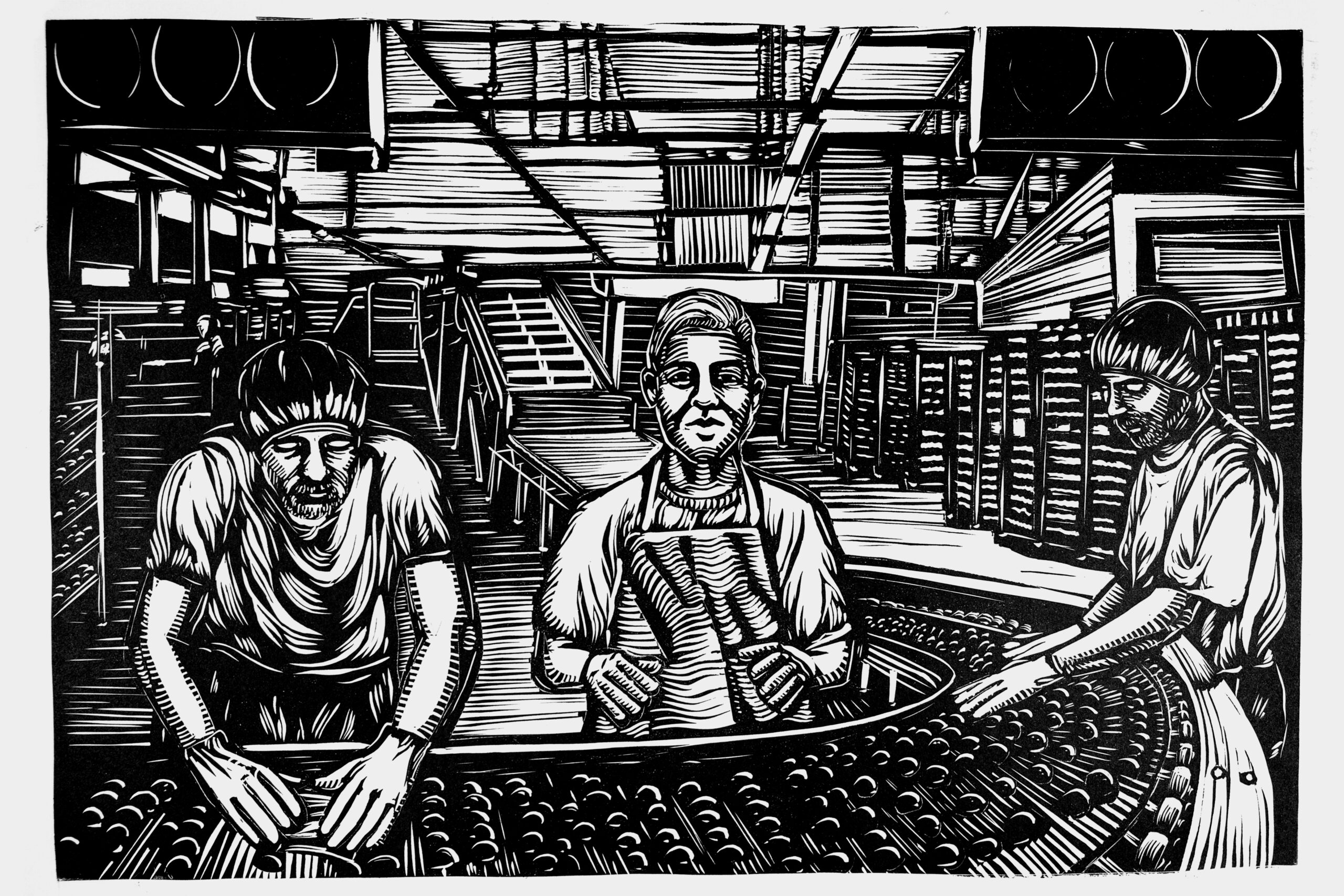 black and white print of factory line workers