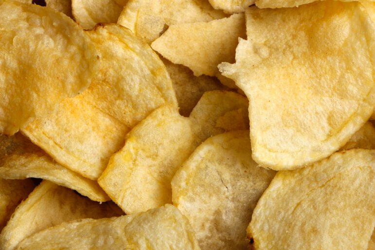 close up of a bunch of potato chips