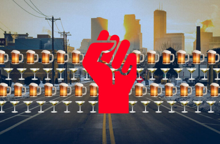 A red cartoon fist is edited on top of rows of beer and martini emojis in front of the MInneapolis skyline